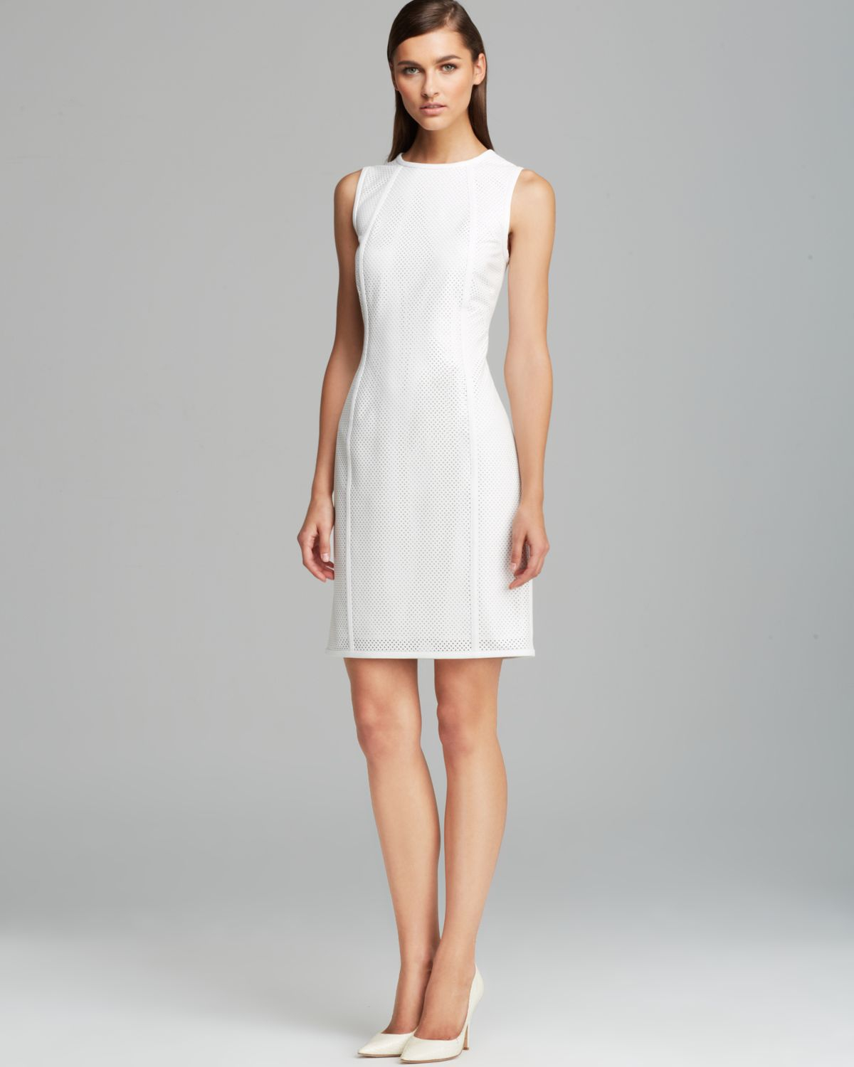 Calvin Klein Perforated Faux Leather Dress In White Lyst
