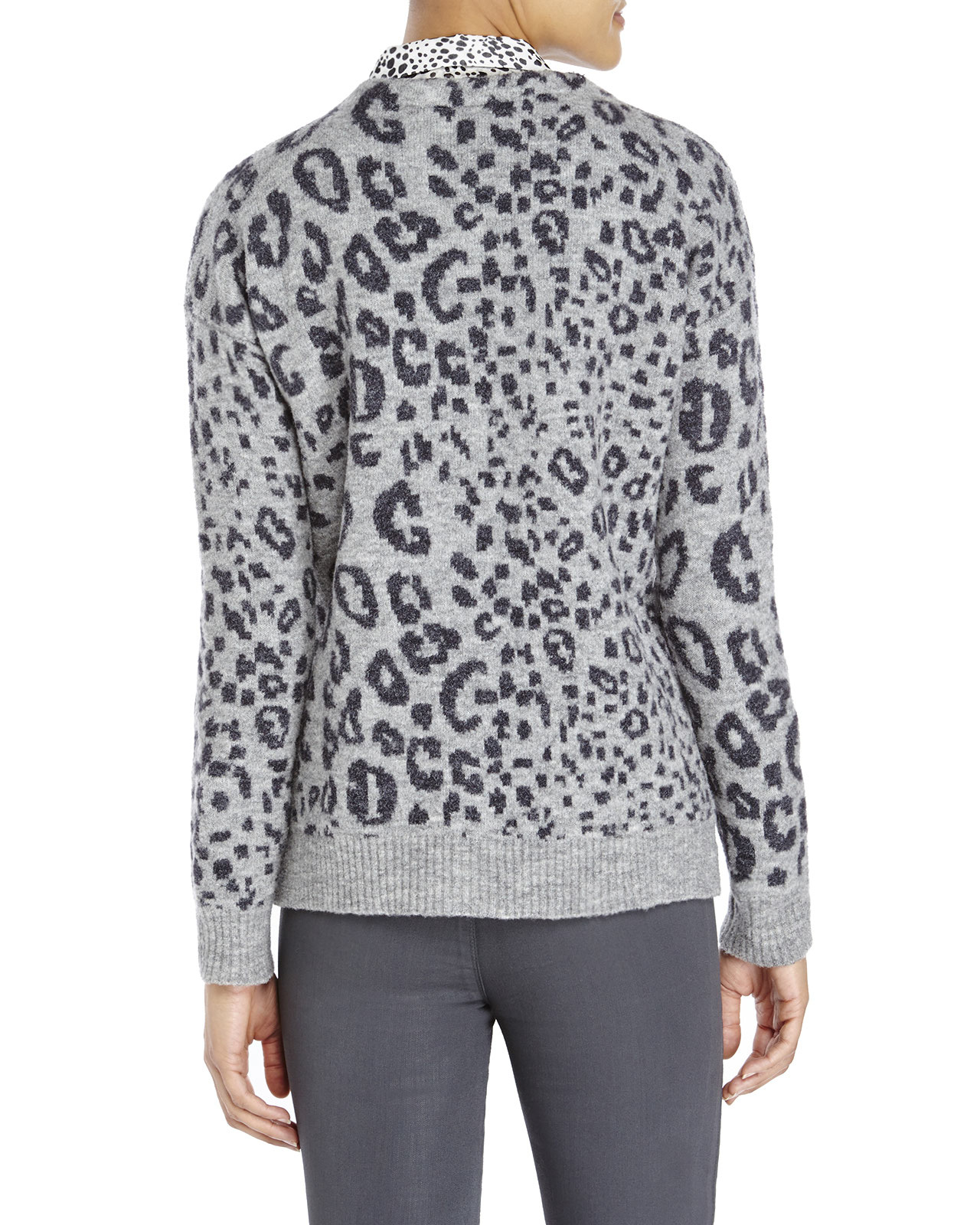 The kooples Leopard Print Cardigan in Gray | Lyst
