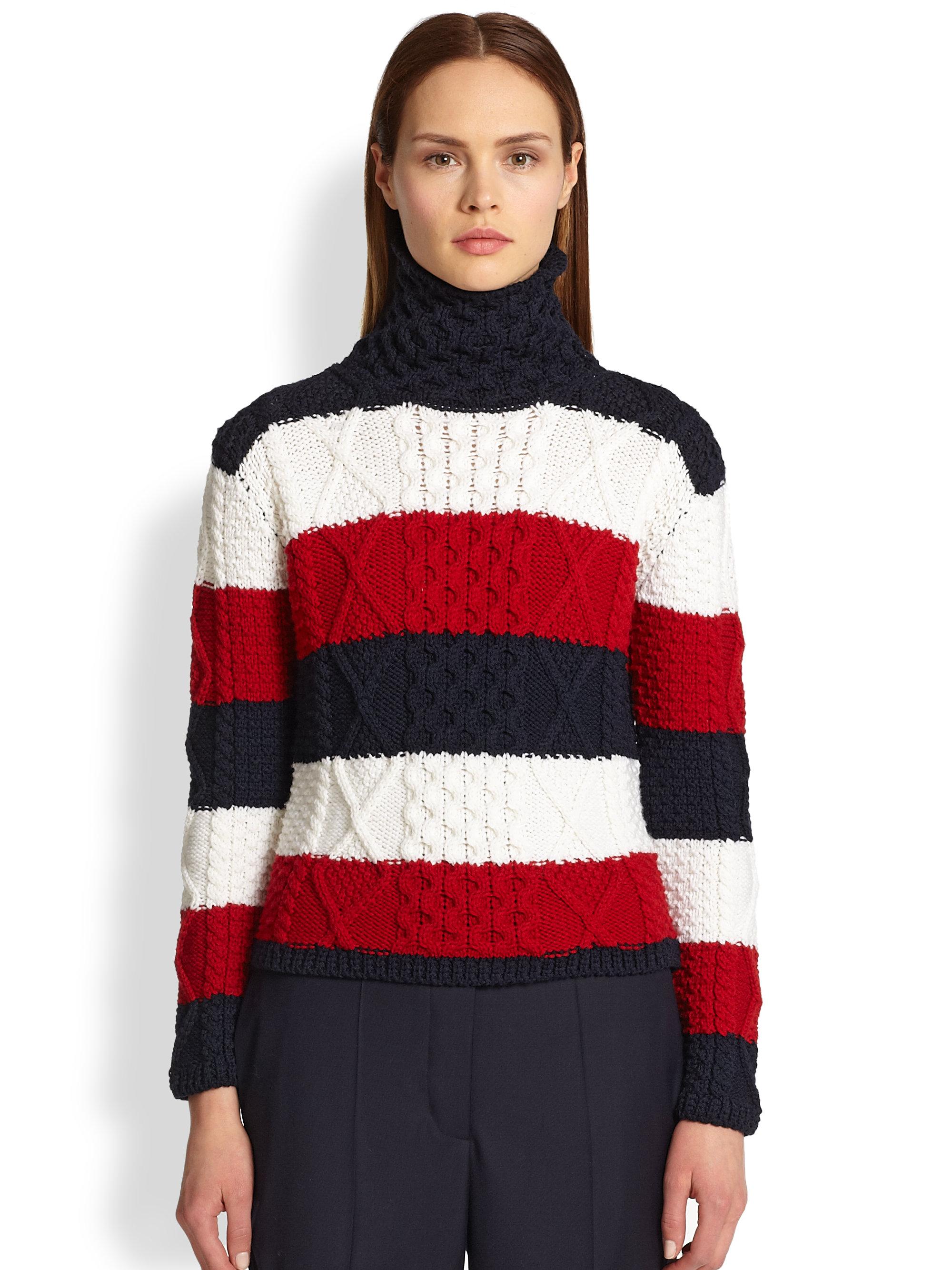 Thom browne Aran Wool Tristripe Turtleneck Sweater in Red | Lyst
