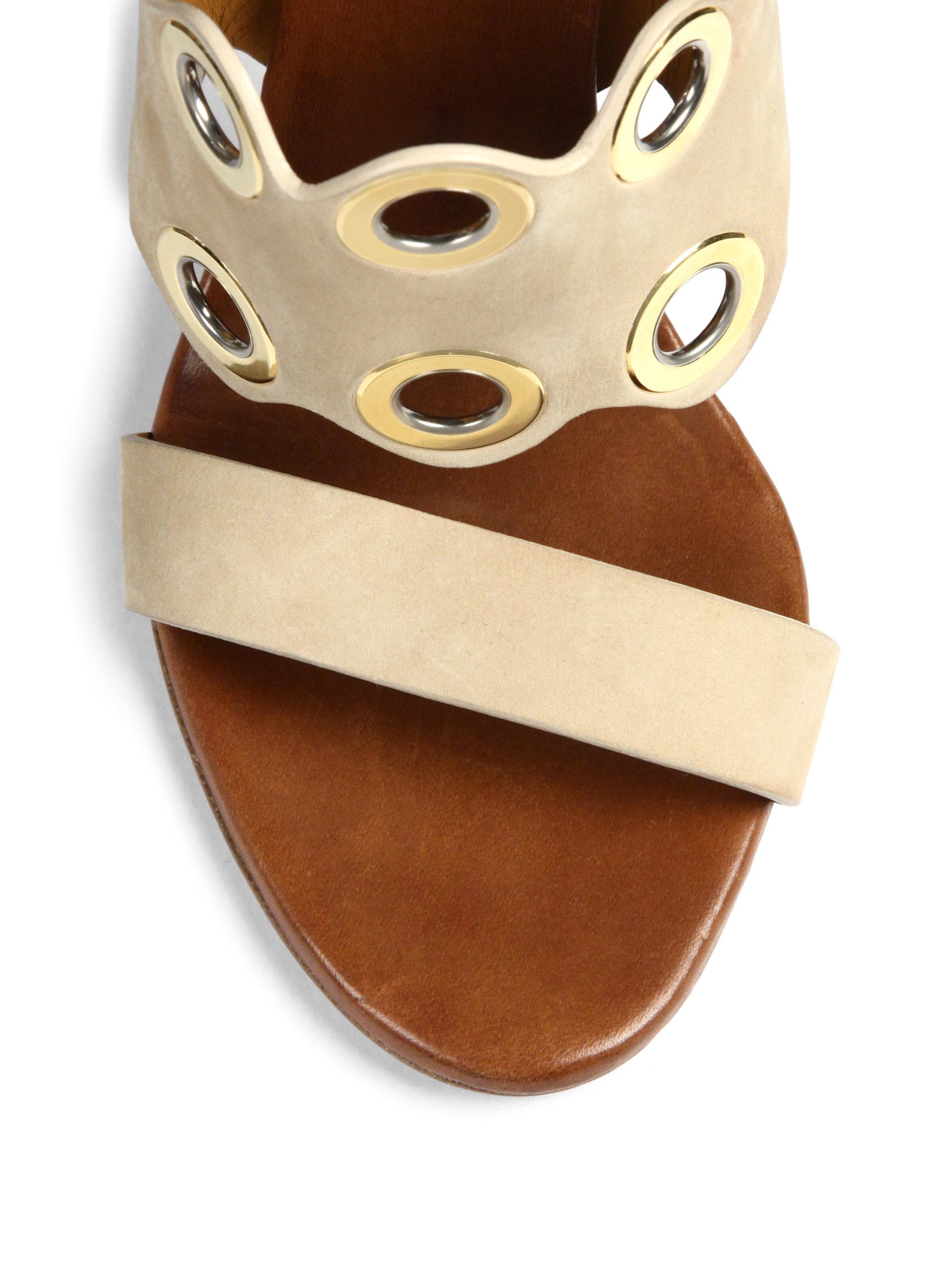 569322cc Chloé - Natural Grommet Suede Wooden-Heeled Mule Sandals - Lyst