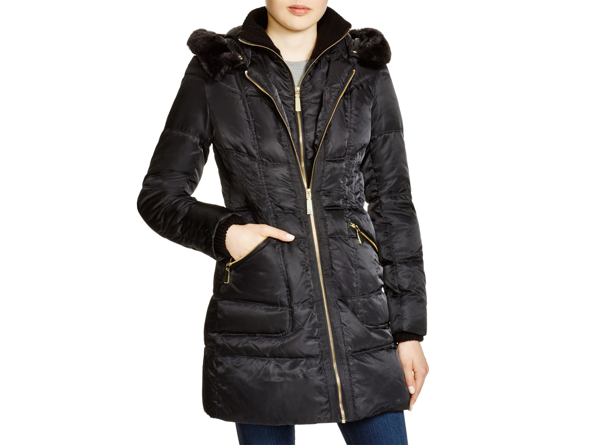 Lyst Vince Camuto Faux Fur Trim Hooded Puffer Coat In Black