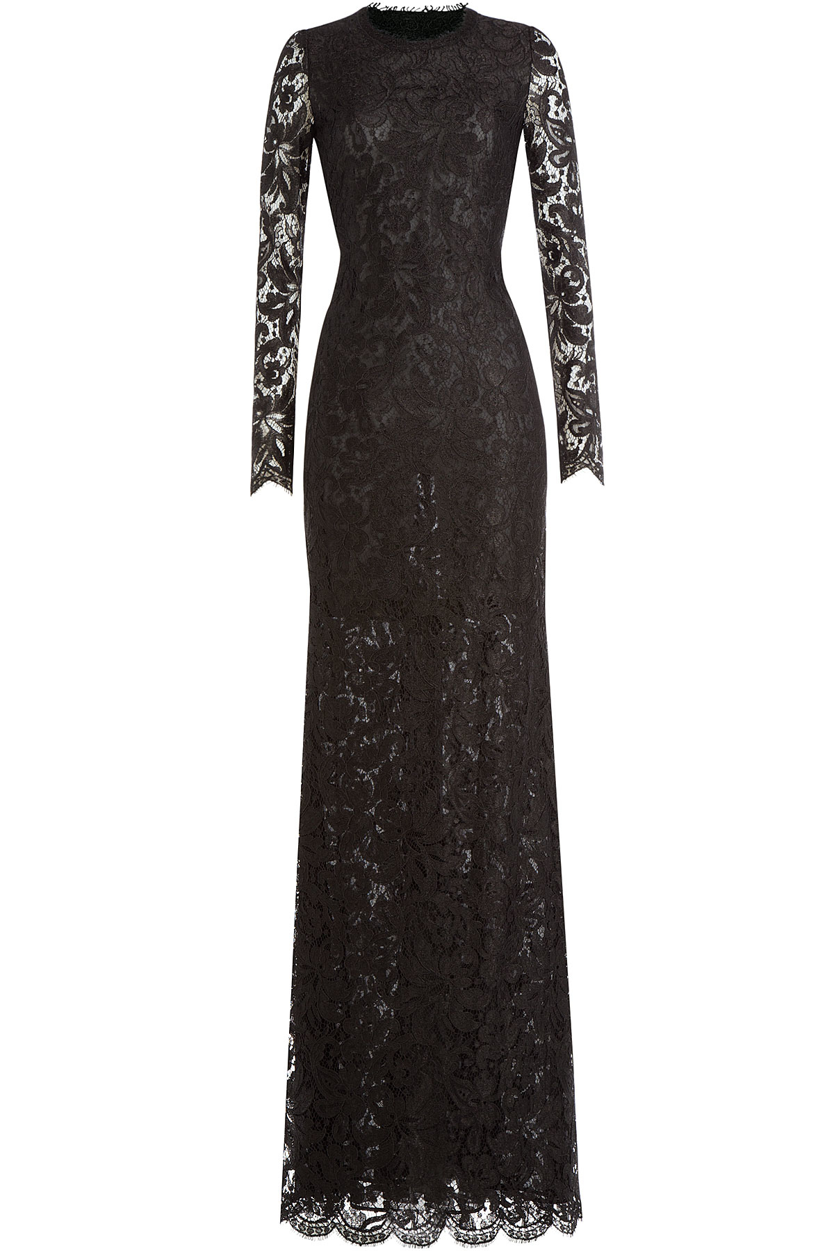 Lyst Emilio Pucci Floor Length Lace Gown Black In Black