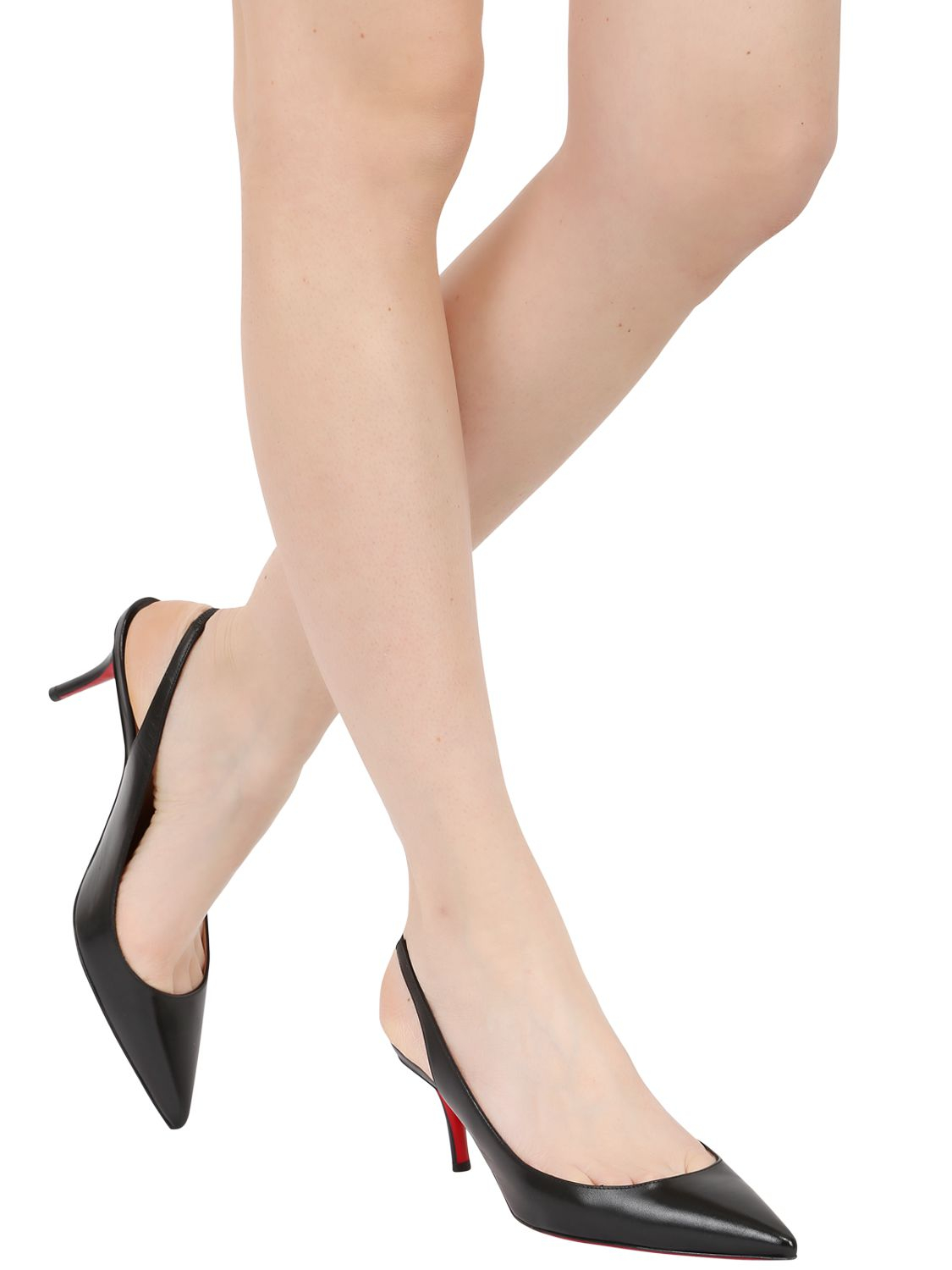 Christian Louboutin 70Mm Apostrophy Leather Slingback Pumps in Black ... 289a9911b
