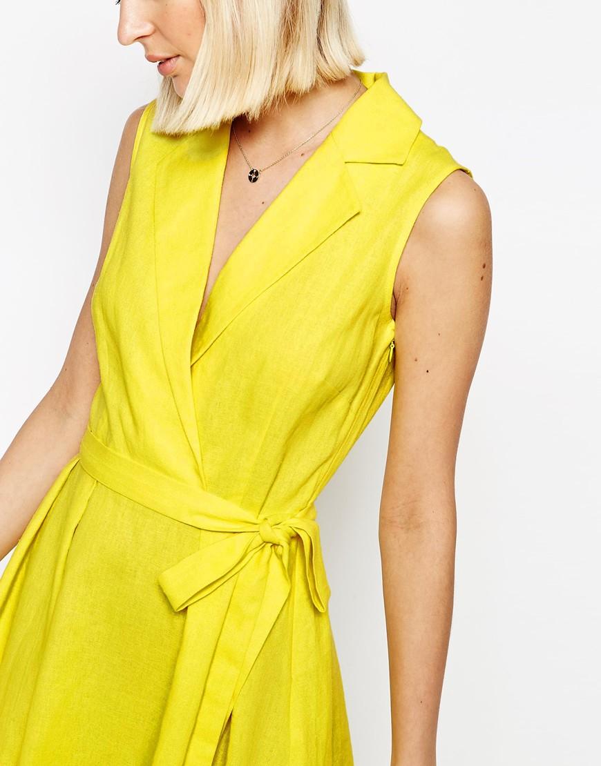 Yellow Linen Shirt Dress