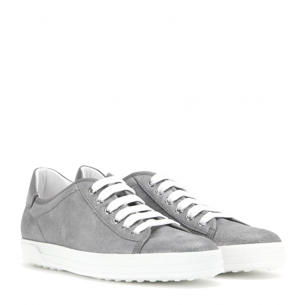 tod 39 s metallic sneakers in gray lyst. Black Bedroom Furniture Sets. Home Design Ideas