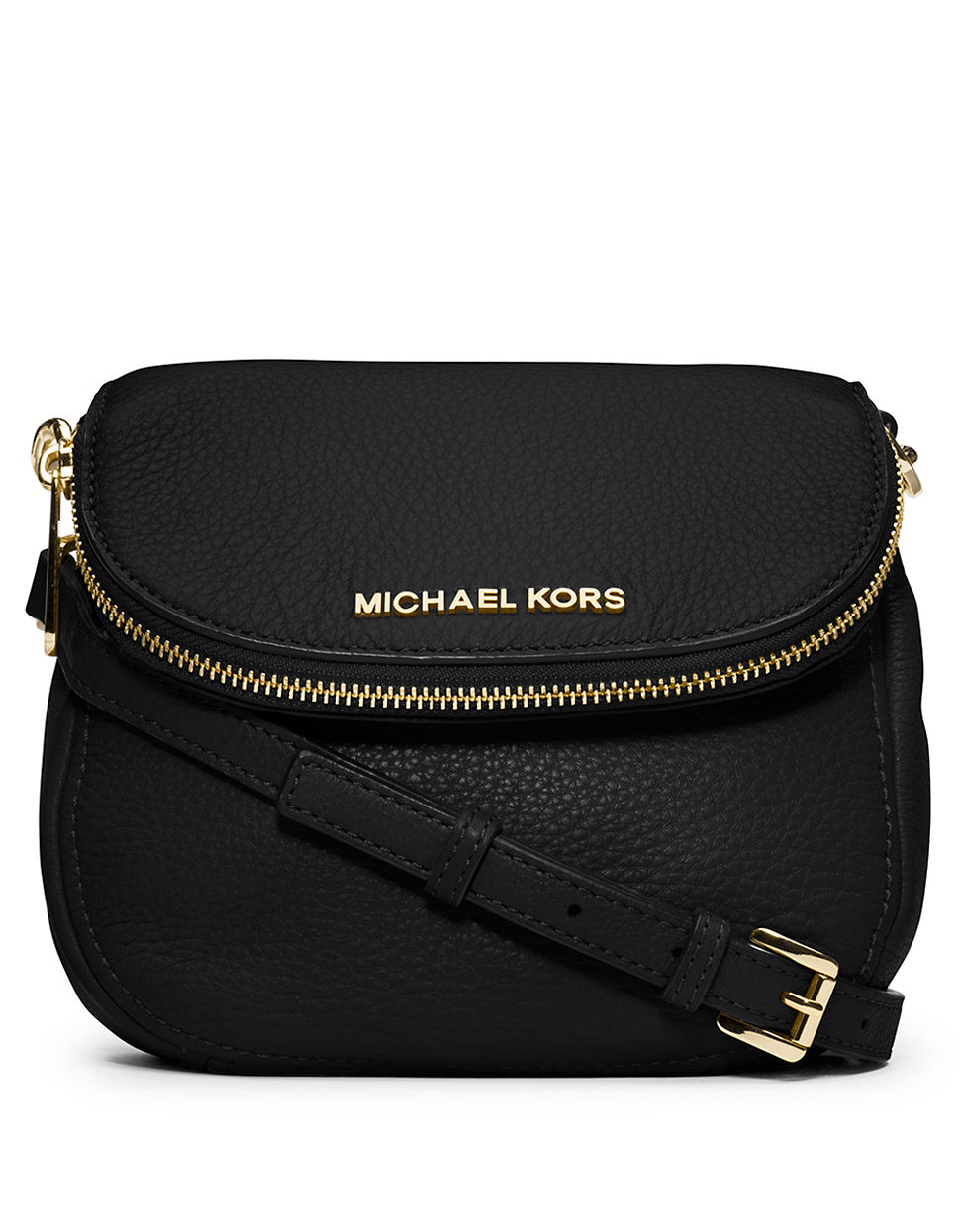 6f9648246a9b Michael Kors Bedford Flap Black Leather Crossbody Bag | Stanford ...