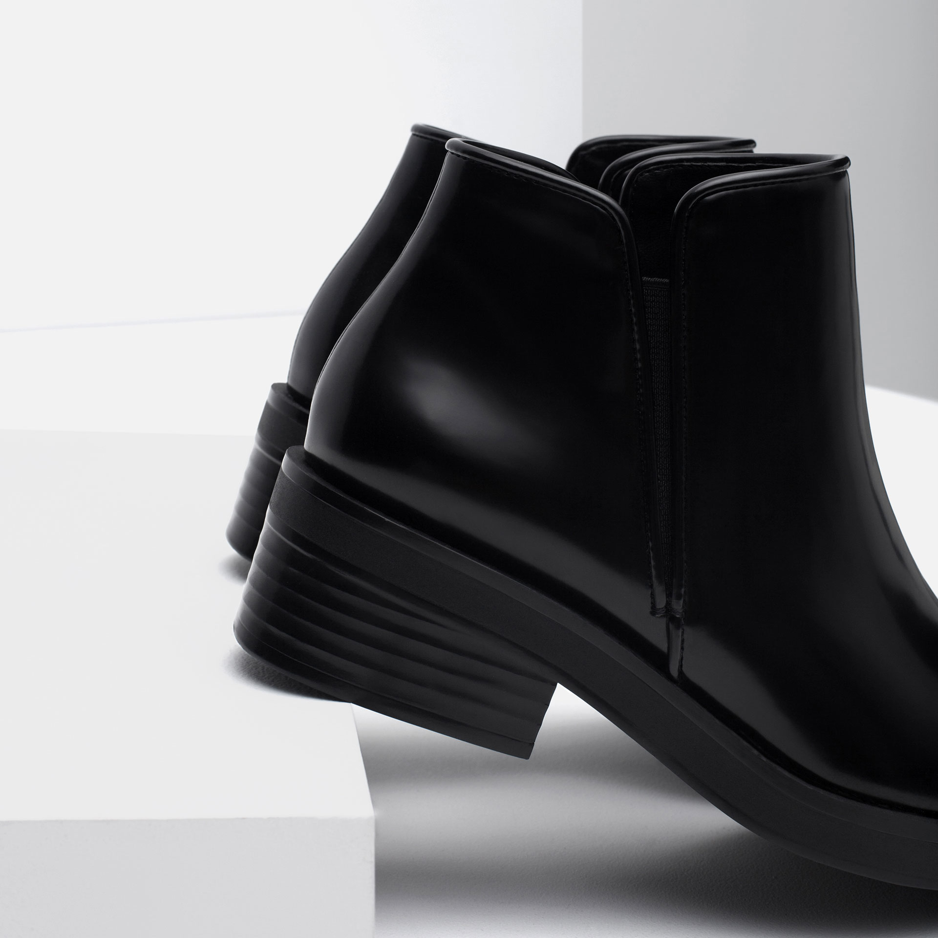 zara flat pointed ankle boots in black lyst