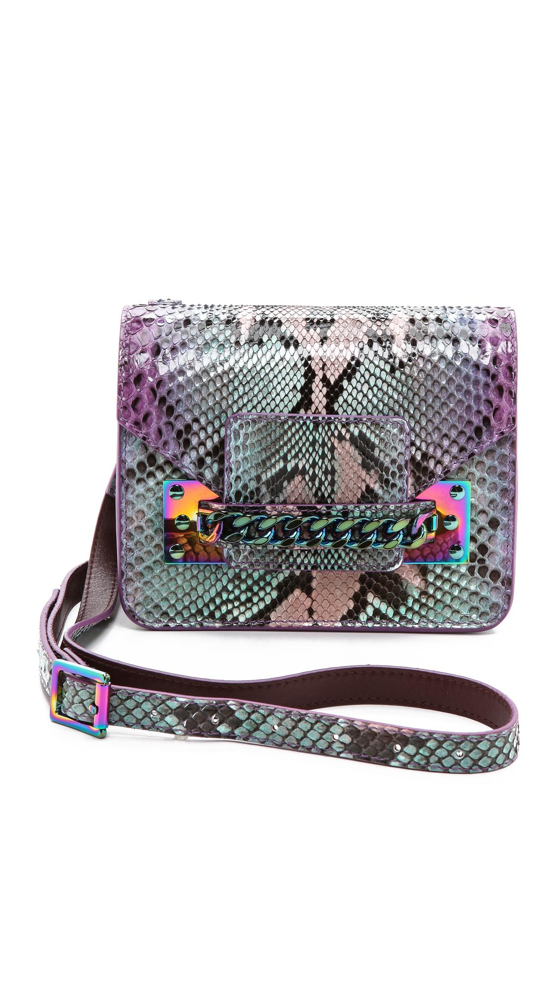 999634985b83 Lyst - Sophie Hulme Python Chain Mini Envelope Bag - Purple Mint in Green