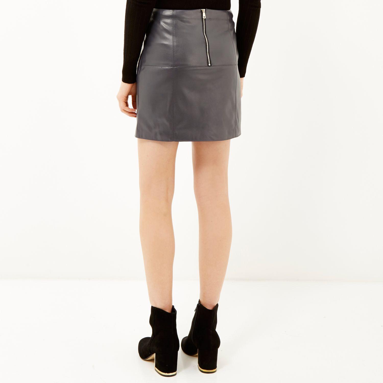 River island Dark Grey Leather-look Mini Skirt in Black | Lyst