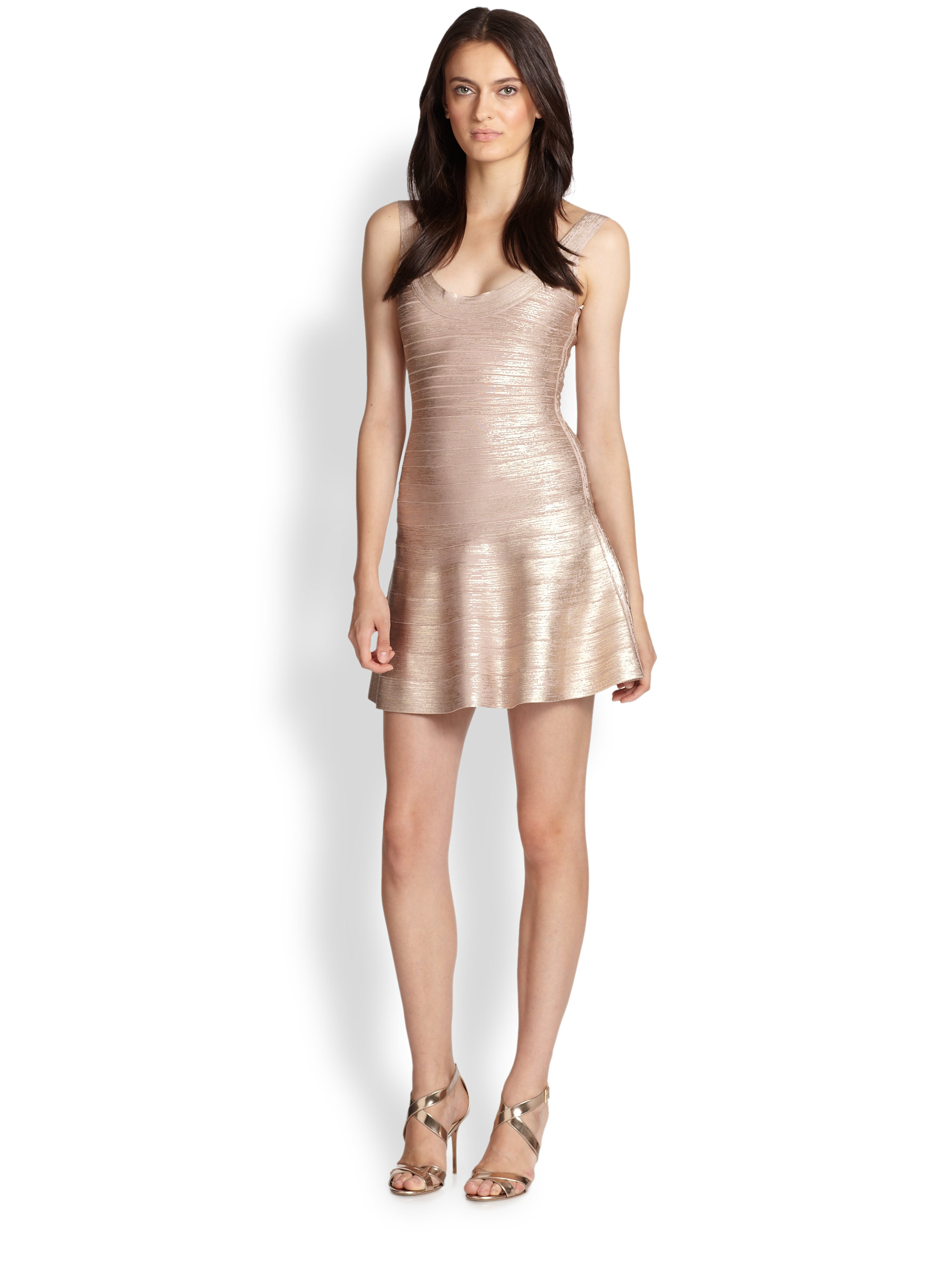 2eddd8c8ed95 Hervé Léger Eva Flared Metallic Bandage Dress in Pink - Lyst