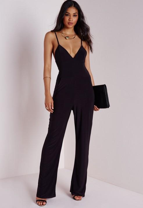 Missguided Slinky Wide Leg Jumpsuit Black in Black   Lyst