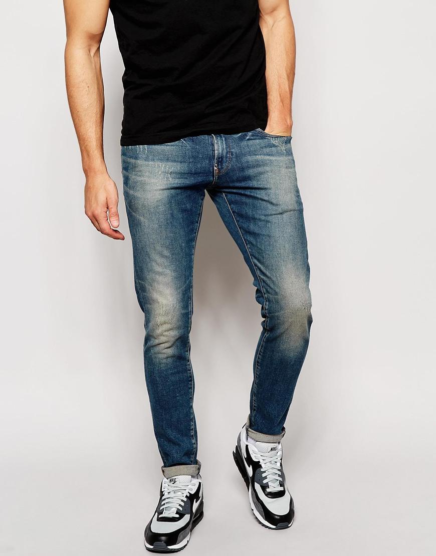 lyst g star raw jeans defend super slim skinny fit wils stretch mid wash in blue for men. Black Bedroom Furniture Sets. Home Design Ideas