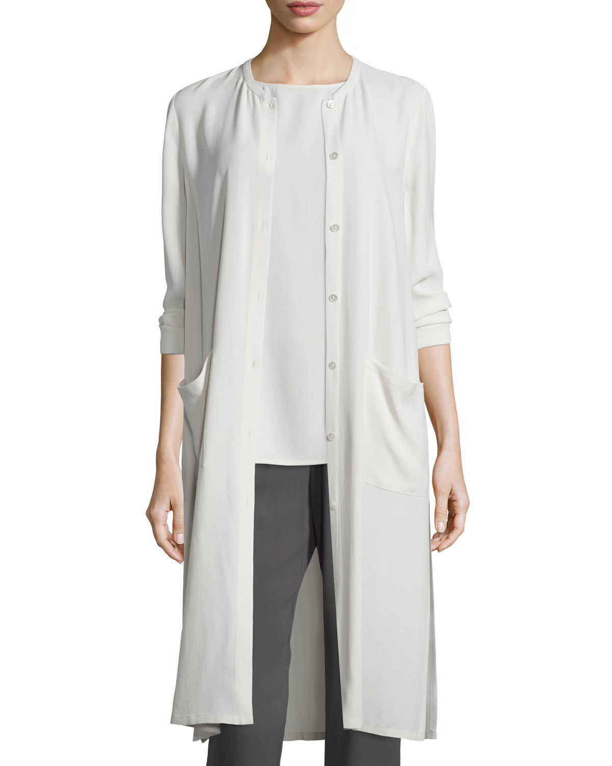 Eileen fisher Long Button-Front Silk Duster Coat in White | Lyst
