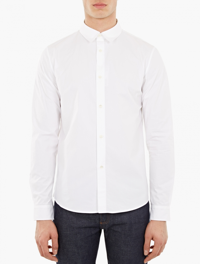 A p c white cotton casual shirt in white for men lyst for Apc white t shirt