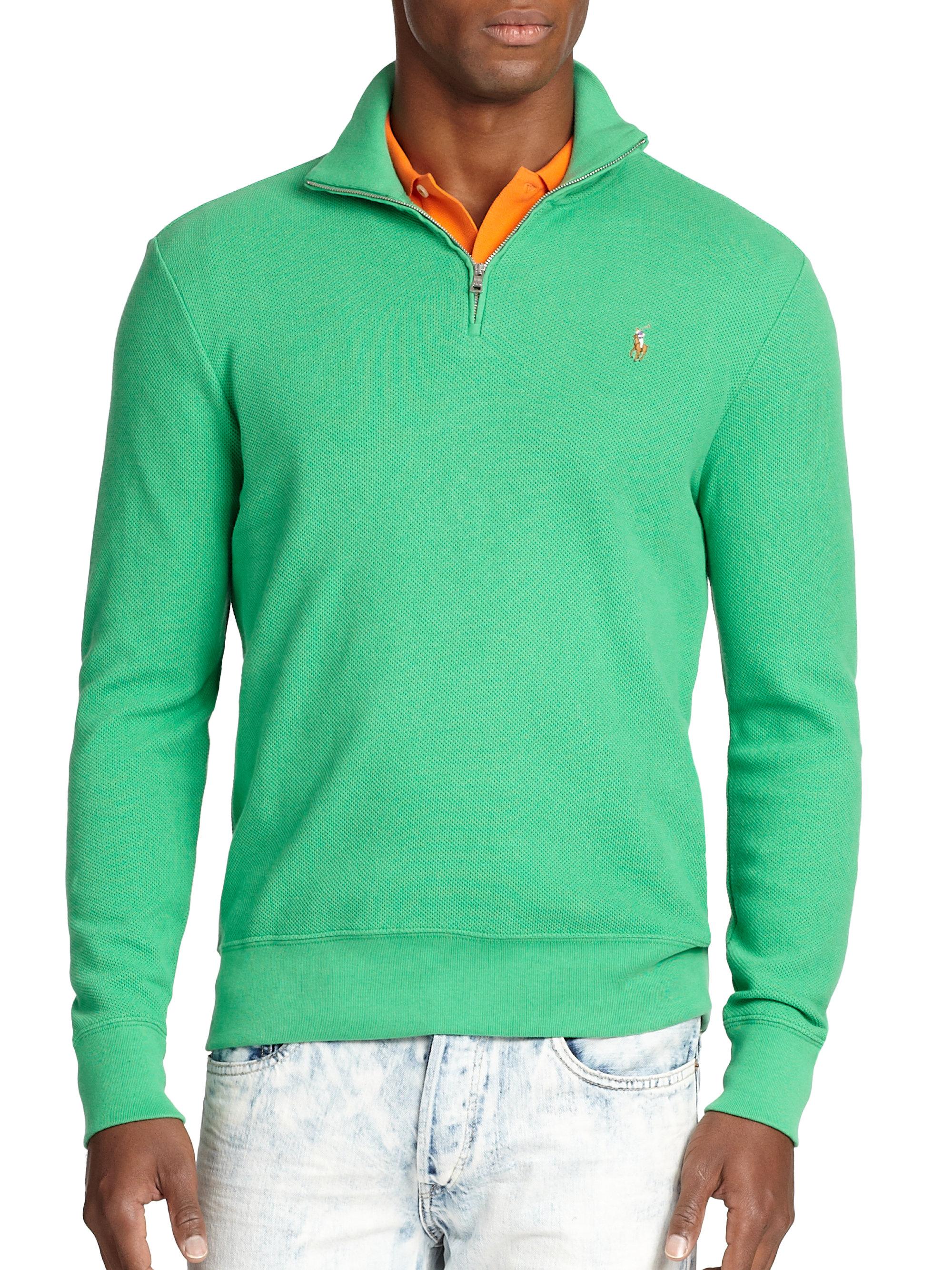 polo ralph lauren pima half zip pullover in green for men. Black Bedroom Furniture Sets. Home Design Ideas