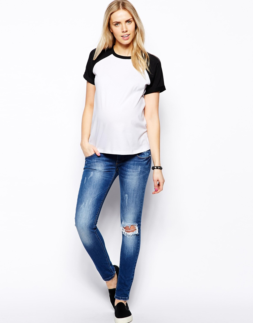 c9f14d3a ASOS Baseball Tshirt with Short Sleeve in Black - Lyst
