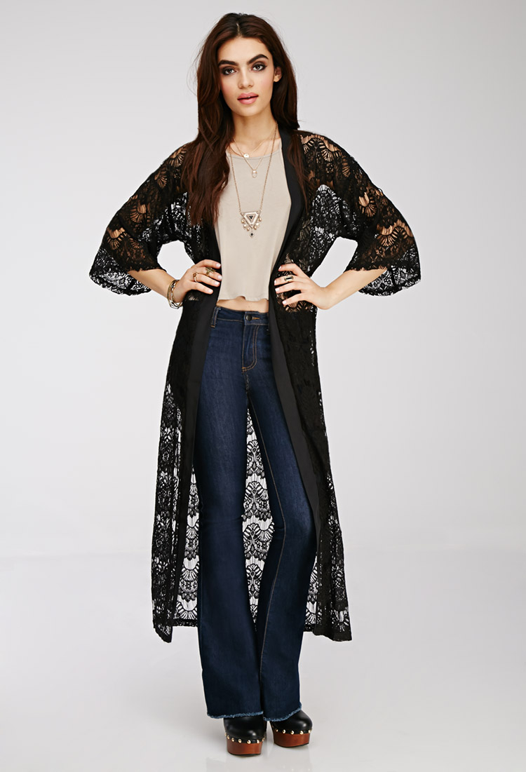 Forever 21 Eyelash Lace Maxi Cardigan in Black | Lyst
