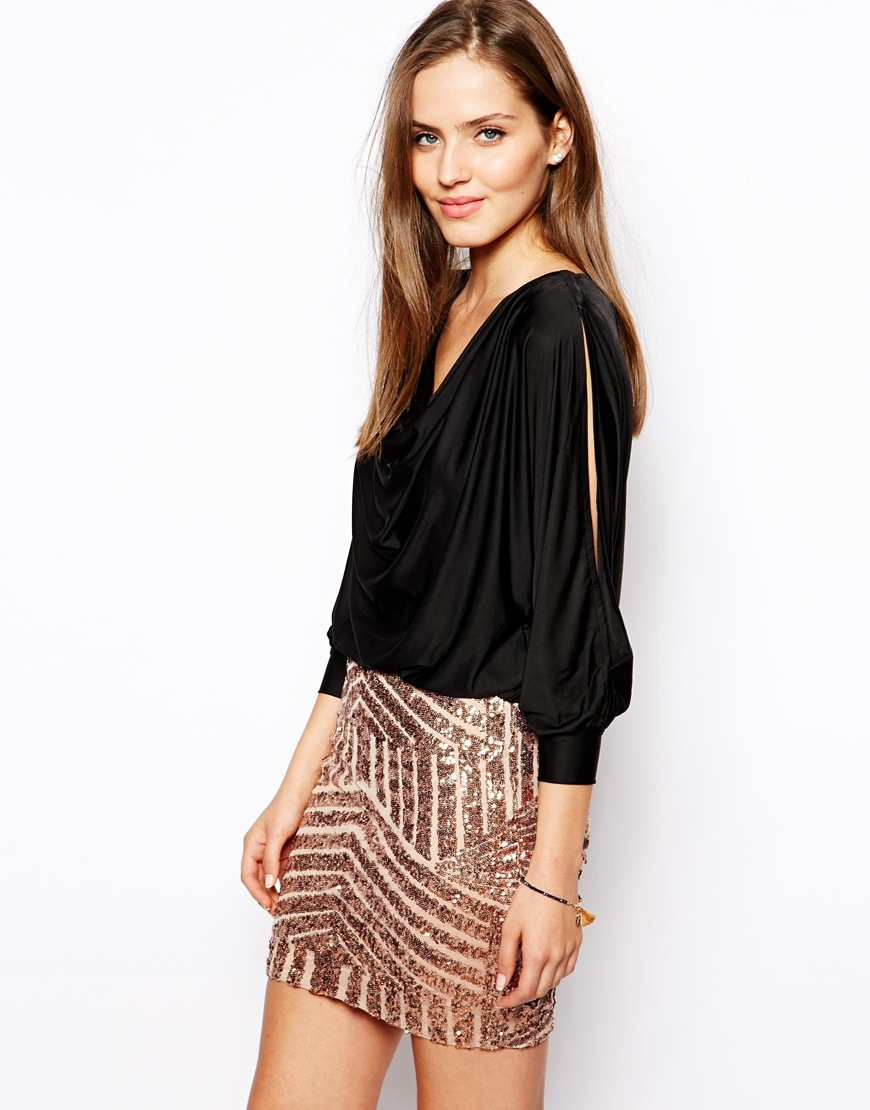 Forever unique Trixie Dress With Sequin Skirt in Metallic   Lyst