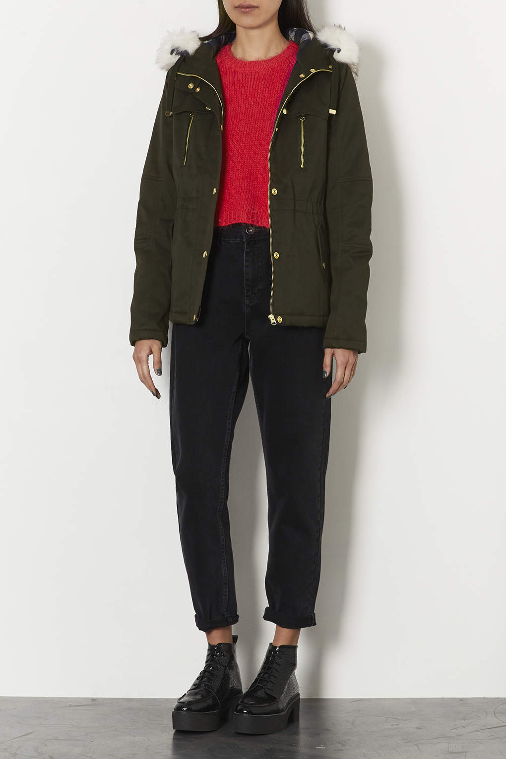 Topshop Short Padded Parka Jacket in Green | Lyst