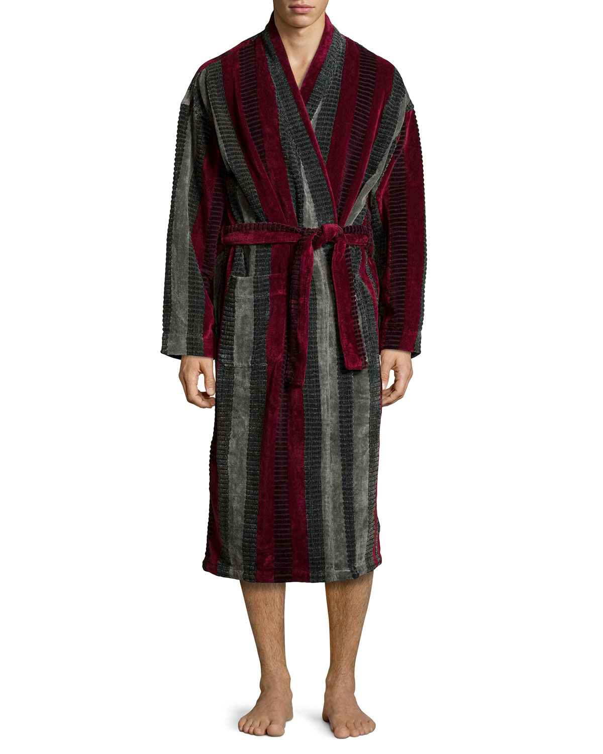 lyst ike behar terry cloth striped robe in purple for men. Black Bedroom Furniture Sets. Home Design Ideas