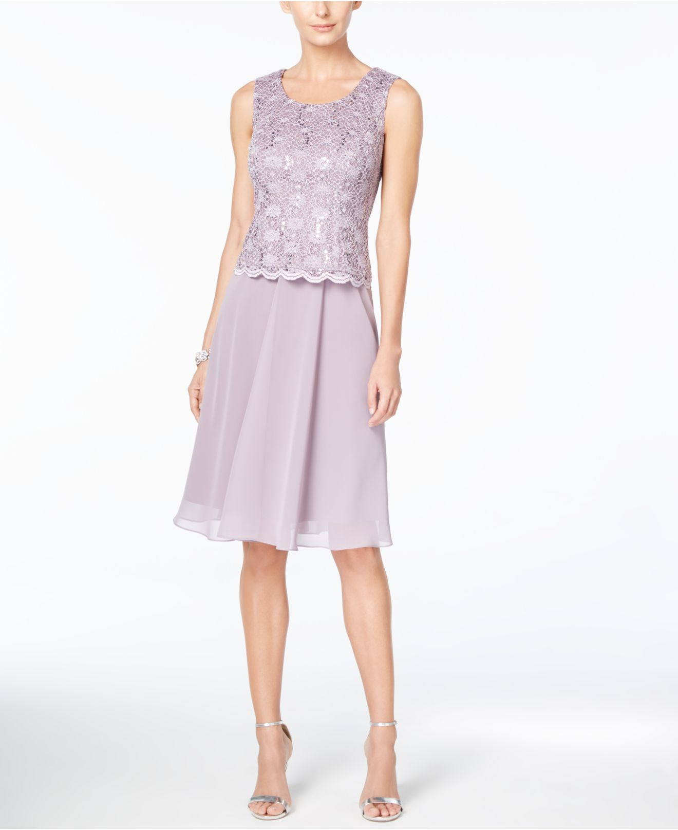 e455002dd5d Lyst - R   M Richards R m Richards Petite Sequin Lace Dress And ...