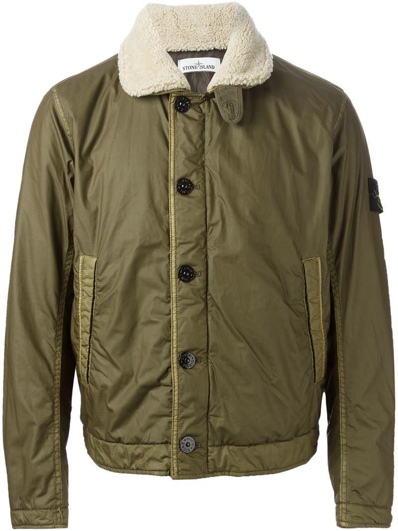 Lyst Stone Island Faux Fur Collar Bomber Jacket In Green