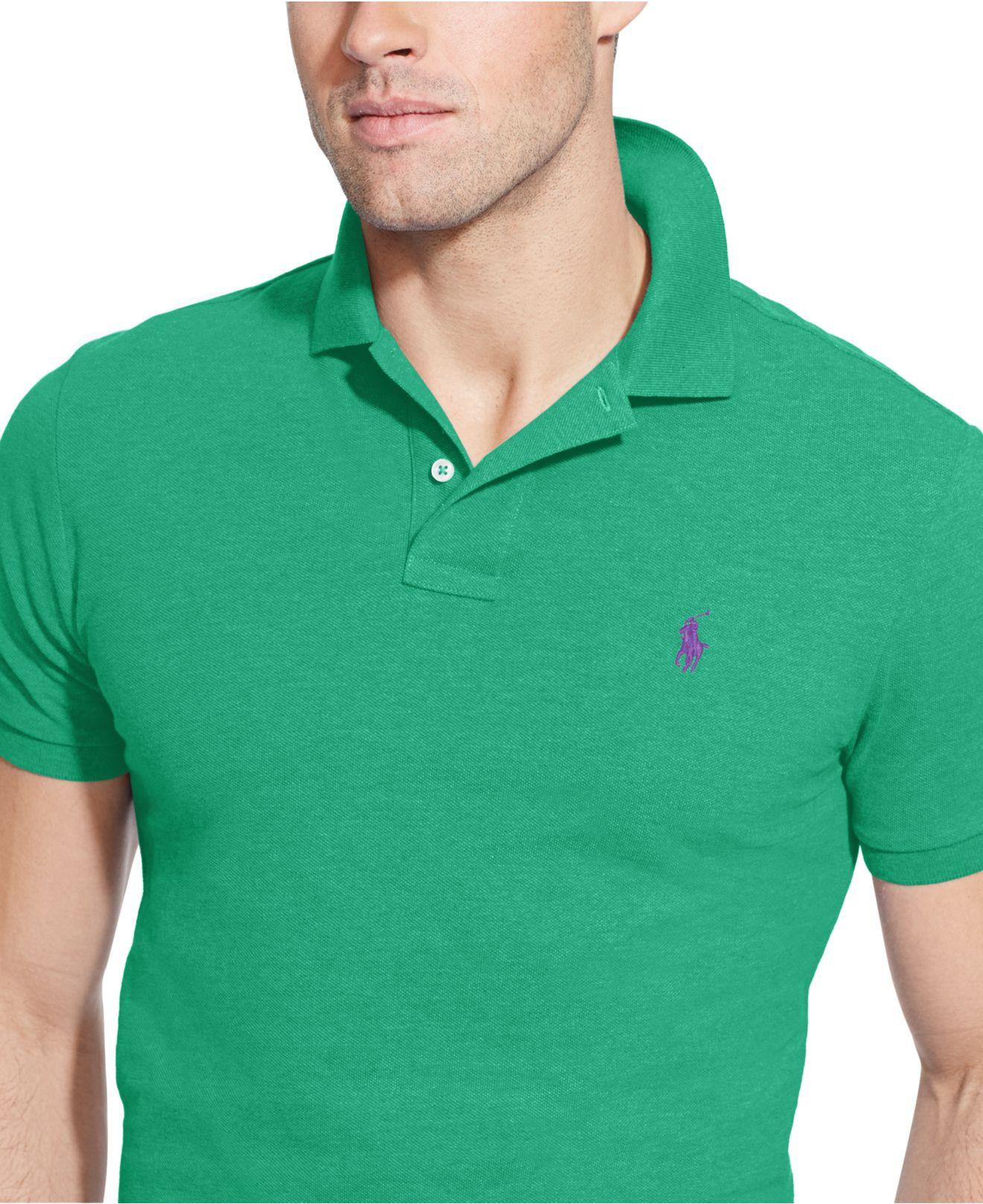 Ralph Lauren Men Custom-Fit Green Mesh Polo