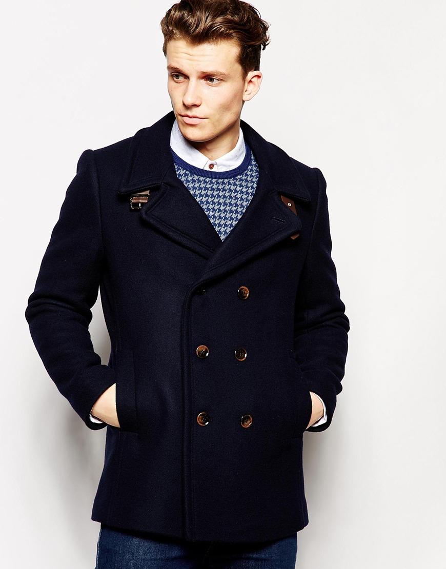 Ted baker Wool Pea Coat in Blue for Men | Lyst