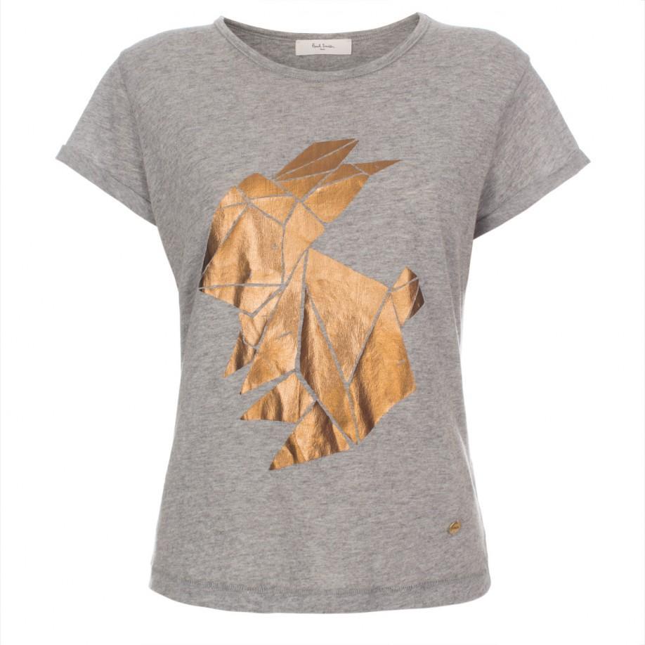Paul smith women 39 s 39 origami rabbit 39 gold foil print t for Foil print t shirts custom