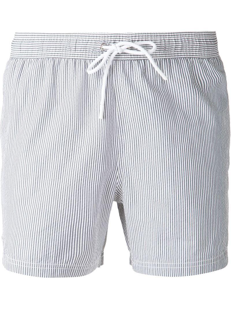 131f4b9aaa5 Lacoste Striped Swim Shorts in Blue for Men - Lyst