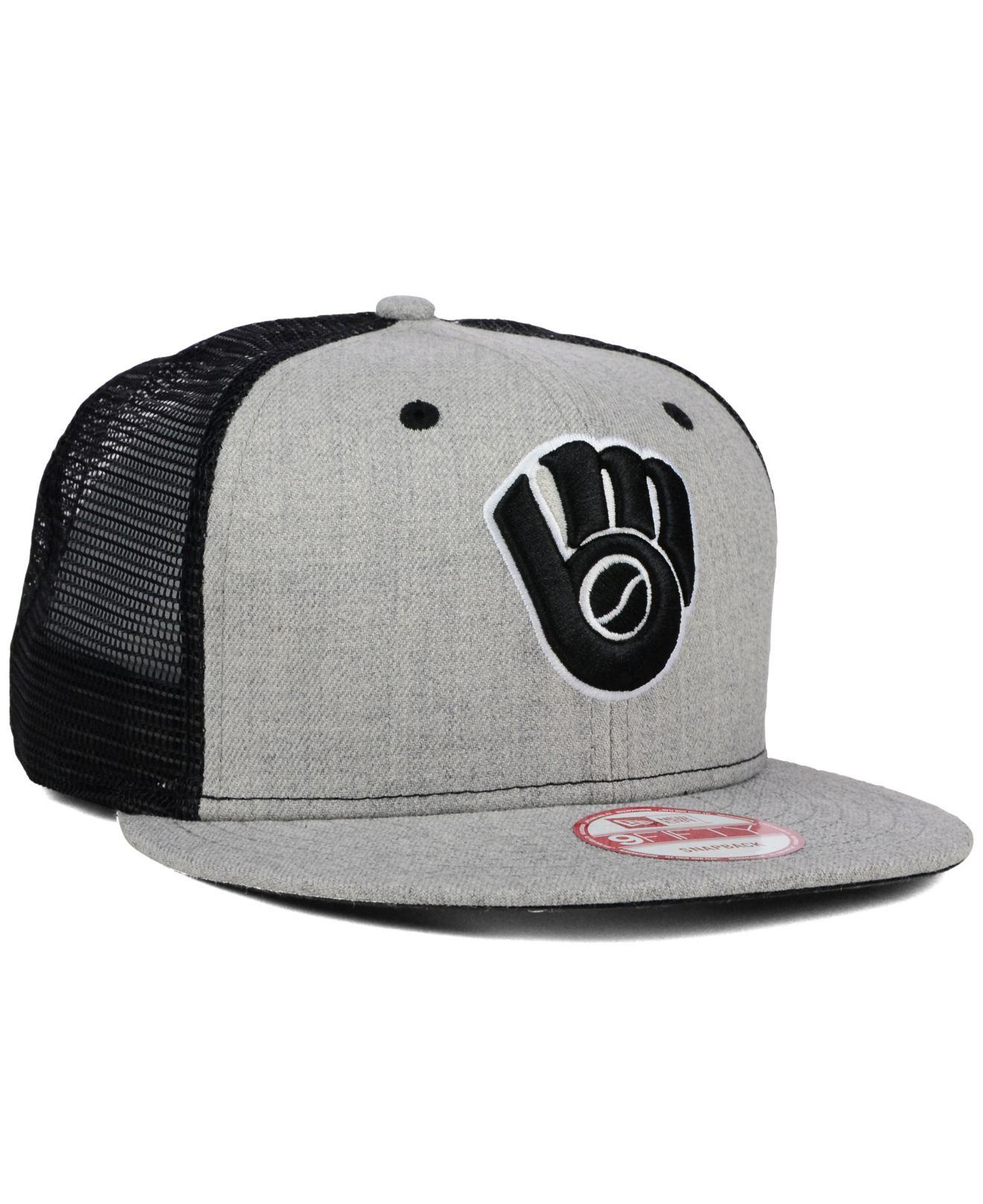 innovative design e3832 d3174 ... coupon lyst ktz milwaukee brewers heather trucker 9fifty snapback cap  in 8aa59 48973