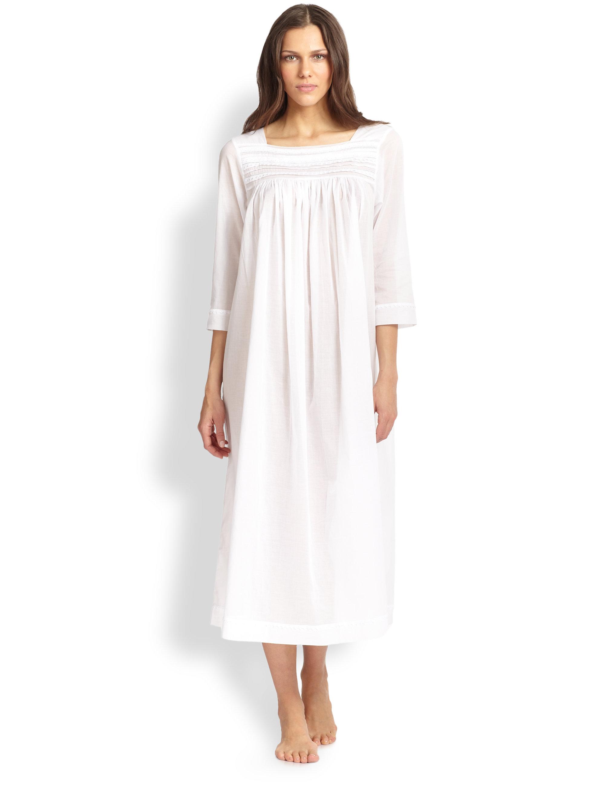 Oscar De La Renta Sheer Cotton Lacetrim Nightgown In White