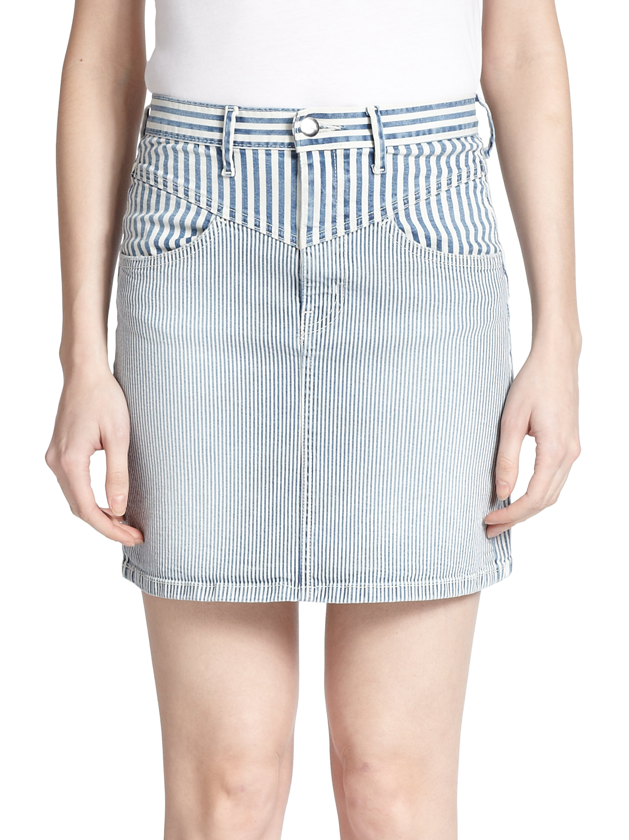 Koral Bari Striped Denim Mini Skirt in Blue | Lyst