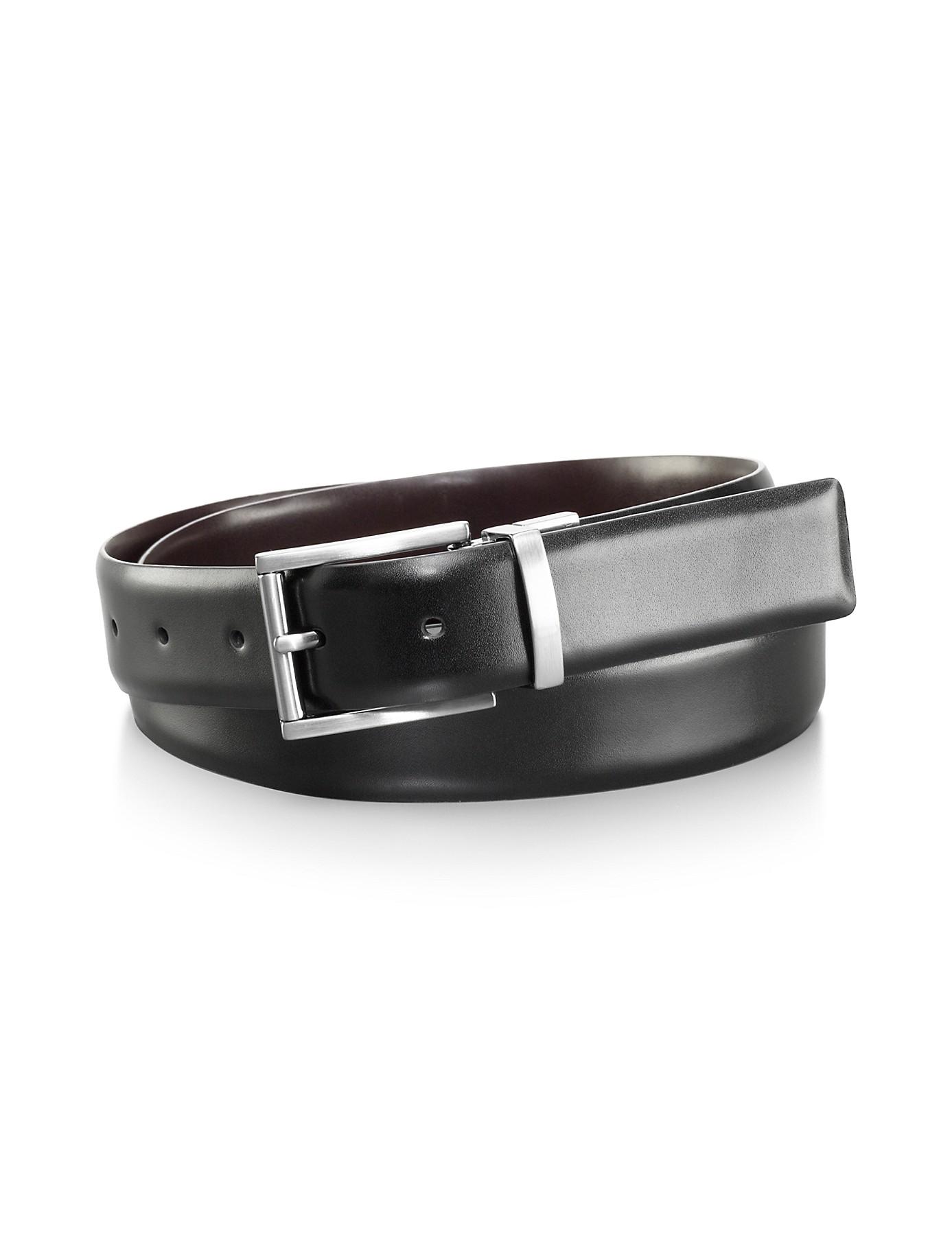 calvin klein reversible leather belt in black for lyst