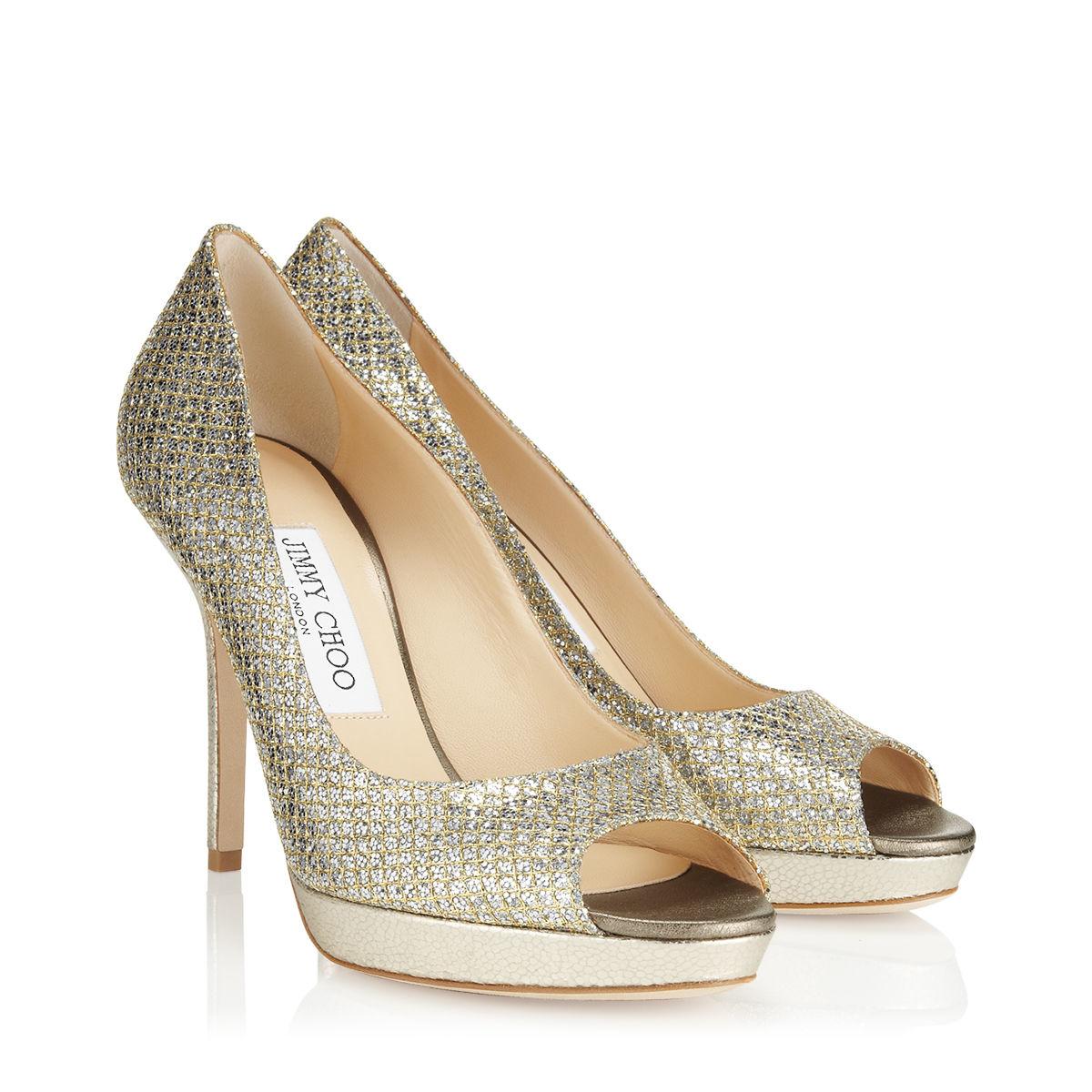 0414aa34238 Jimmy Choo Luna Champagne Glitter Fabric Platform Peep Toe Pumps in  Metallic - Lyst