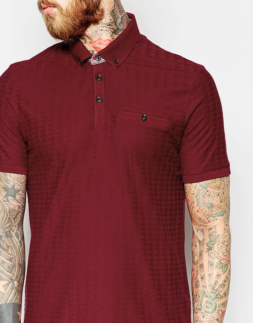 Ted baker textured polo shirt in red for men lyst for Ted baker mens polo shirts