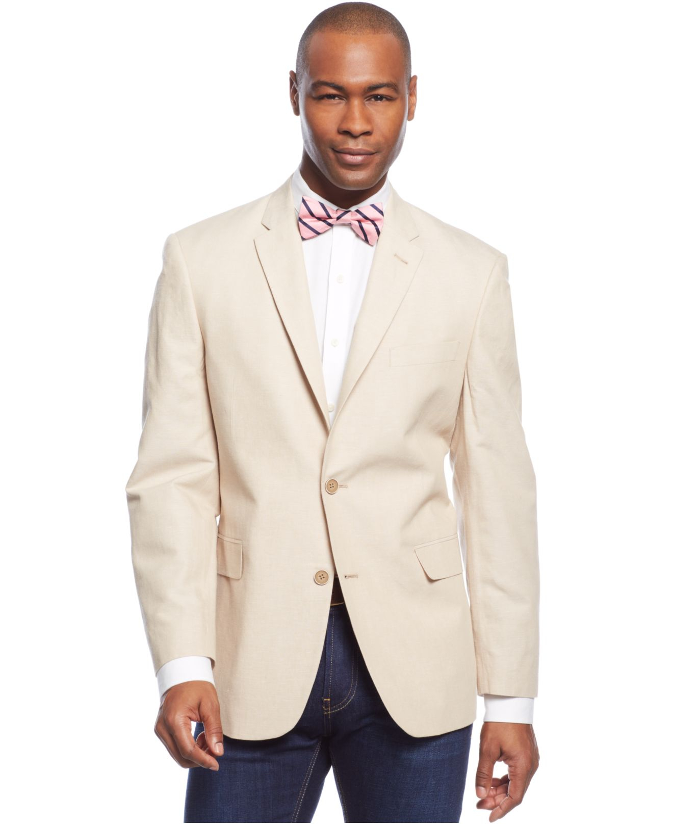 Tommy hilfiger Trim-fit Tan Linen-blend Sport Coat in Natural for ...