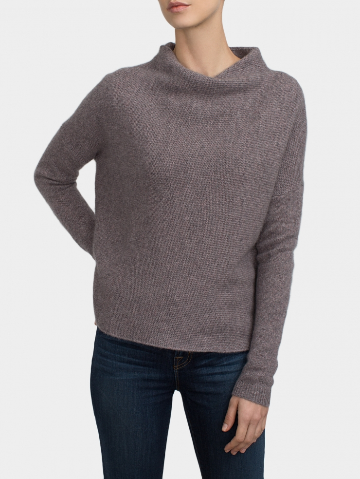 White + Warren | Gray Plush Cashmere Stand Neck | Lyst