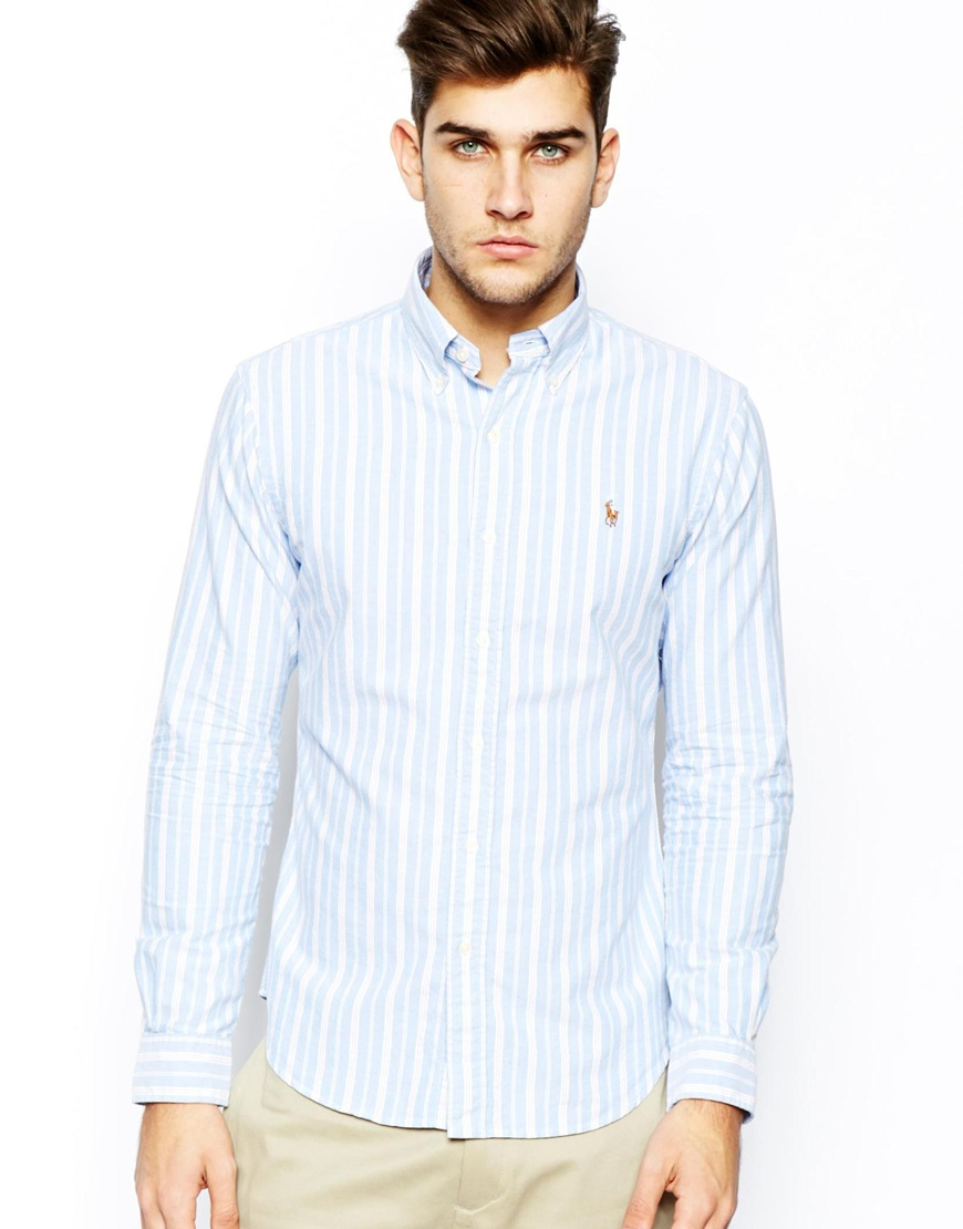 a9f4c3d3669b Polo Ralph Lauren Oxford Shirt with Stripe in Slim Fit in Blue for ...