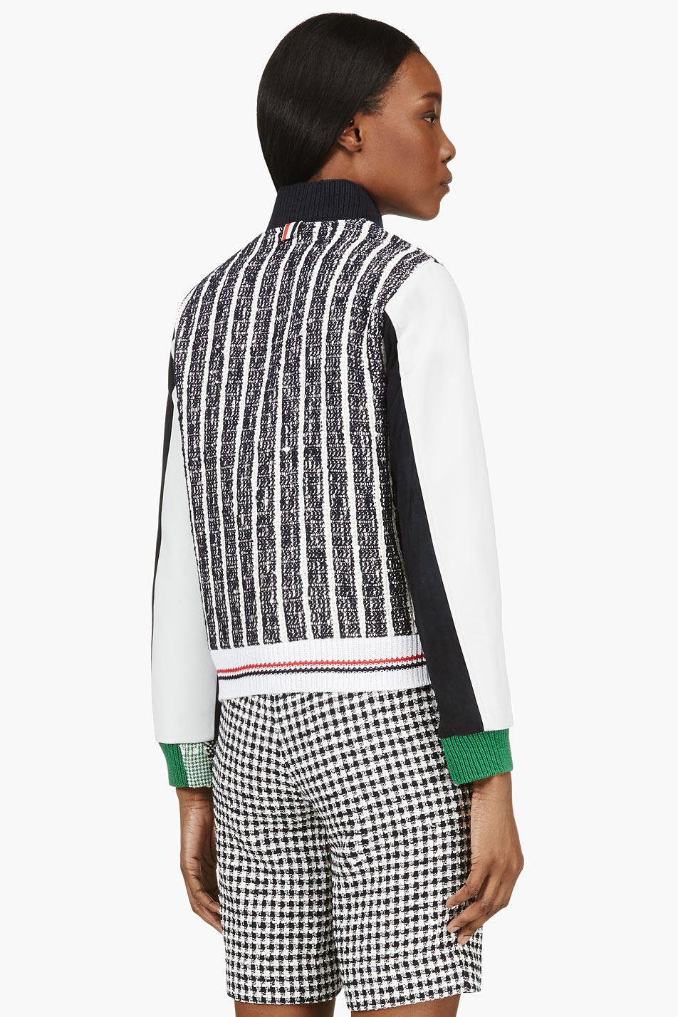 Thom browne Navy and Green Tweed Leather Sleeve Baseball Jacket in ...