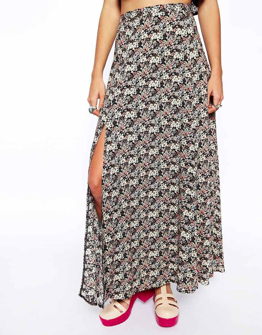 asos reclaimed vintage maxi skirt in antique floral in