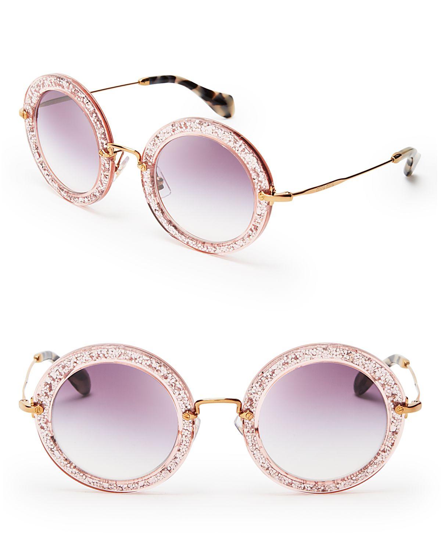 8da3fcc6f4 Lyst - Miu Miu Noir Round Sunglasses in Pink