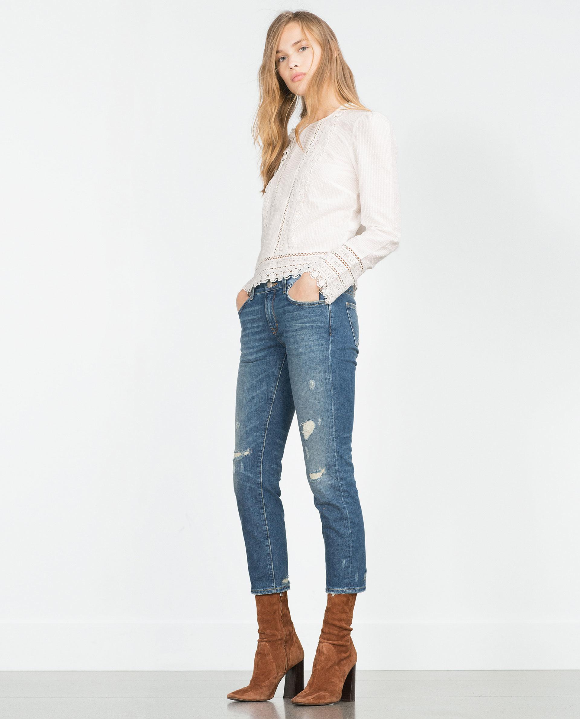 Lastest Zara Superskinny Midrise Jeans In Blue  Lyst