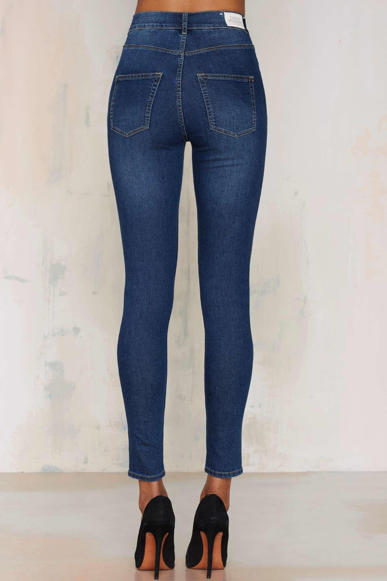 Womens High Spray Dim Blue Skinny Jeans Cheap Monday RrjVjPlTsc