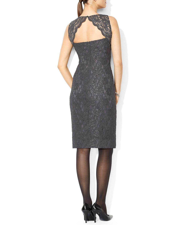 473d548e09f79 Lyst - Ralph Lauren Lauren Dress - Lace Cutout Back in Gray