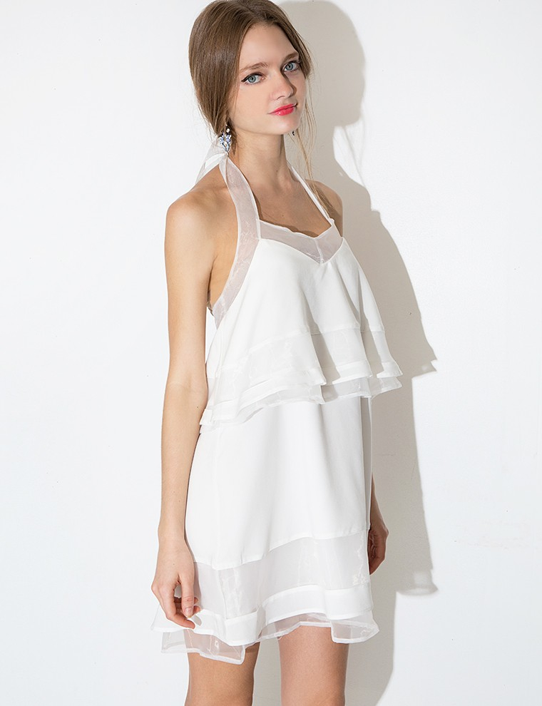 Pixie market J.o.a White Organza Tiered Dress in White - Lyst