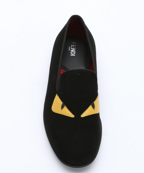 Fendi Black Suede And Yellow Leather Eye Detail Loafers In