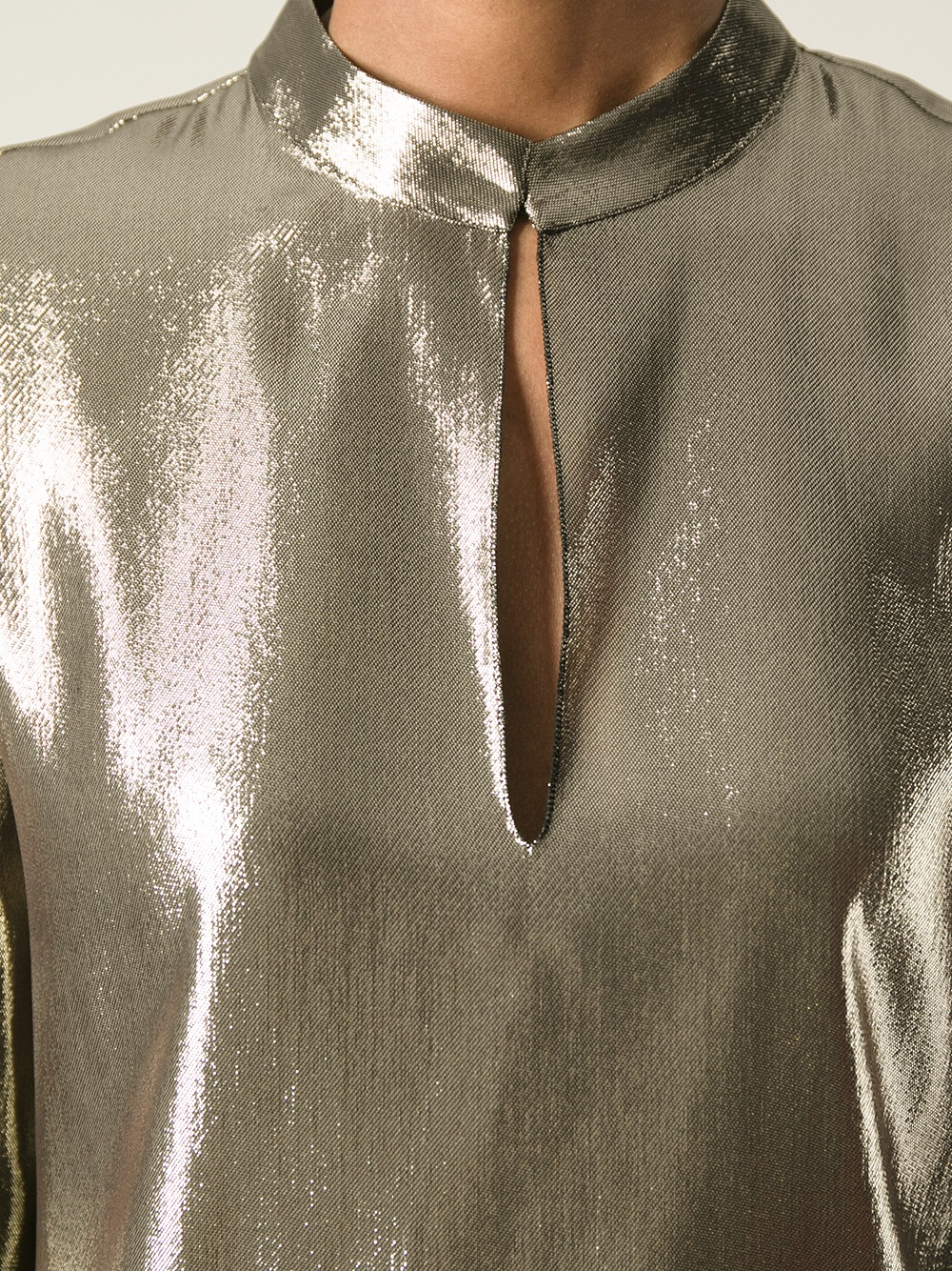 Gold Metallic Blouse Fashion Ql
