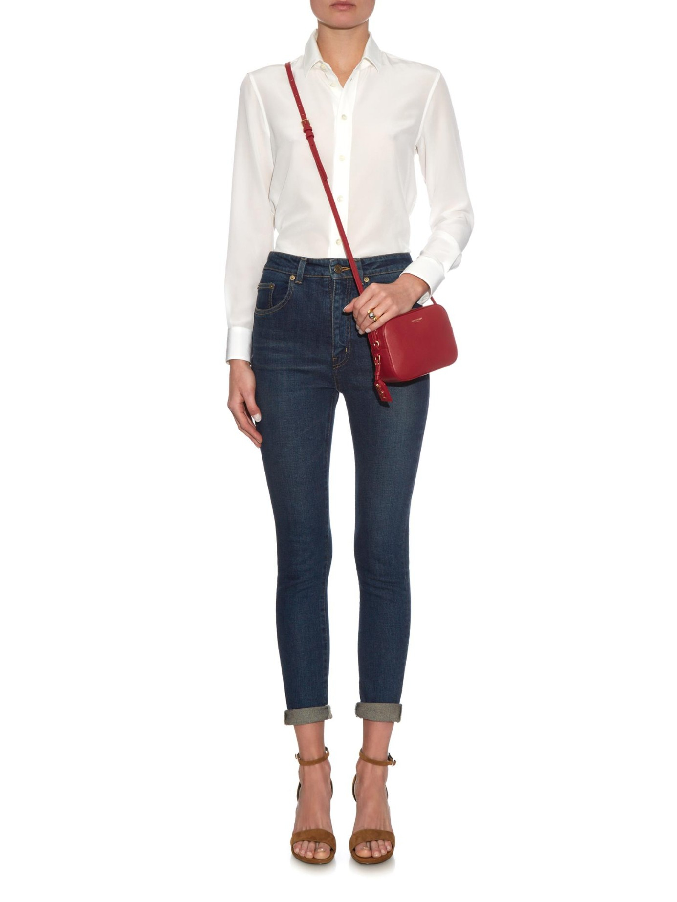 Lyst - Saint Laurent Monogram Small Leather Cross-body Bag in Red bf1a05d09cb6f