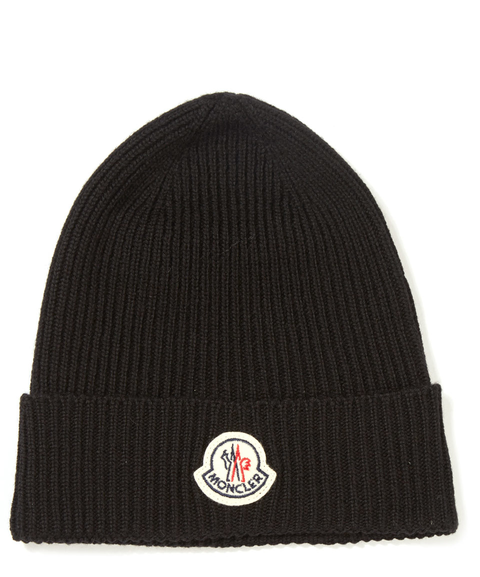 Lyst Moncler Black Ribbed Knit Wool Beanie Hat In Black